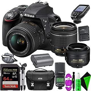 Nikon D3300 DSLR Camera (Black) + Nikon 18-55mm Lens + Nikon 35mm f/1.8 Lens + 64GB PRO Memory Card + GODOX TTL Speedlite