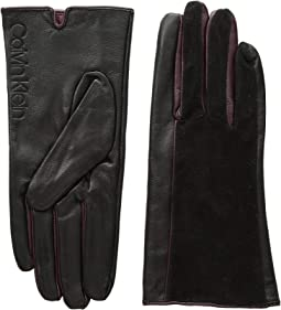 Leather/Suede Gloves w/ Pop Color Fourchettes