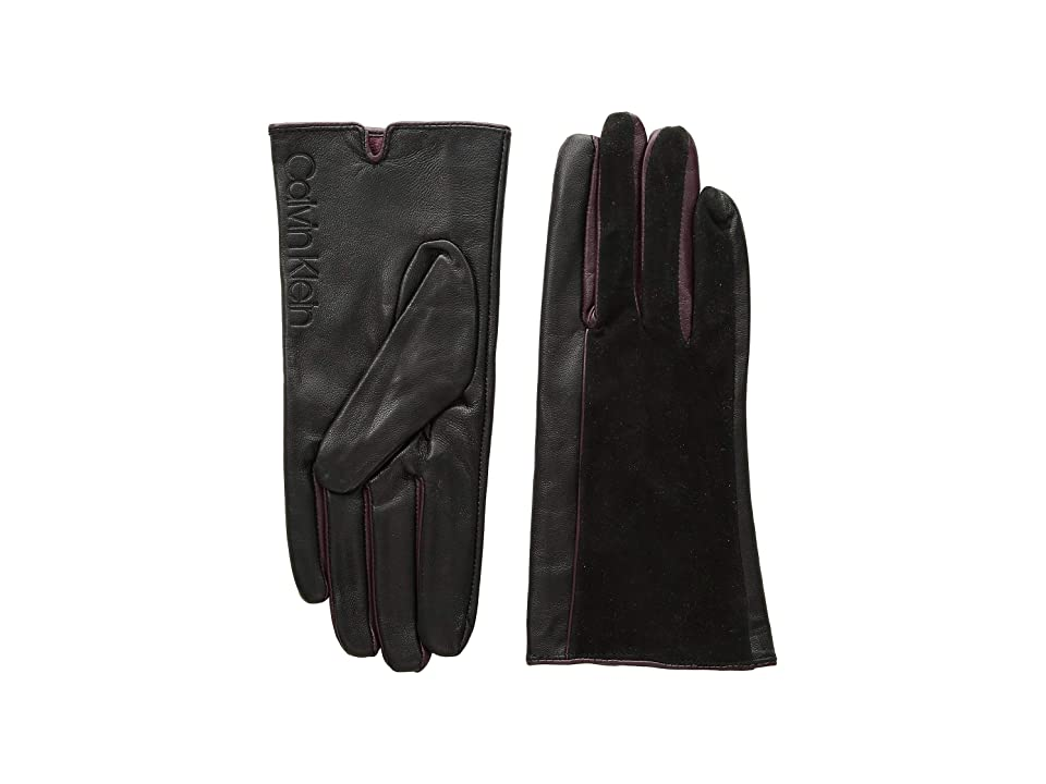 Calvin Klein Leather/Suede Gloves w/ Pop Color Fourchettes (Black) Extreme Cold Weather Gloves