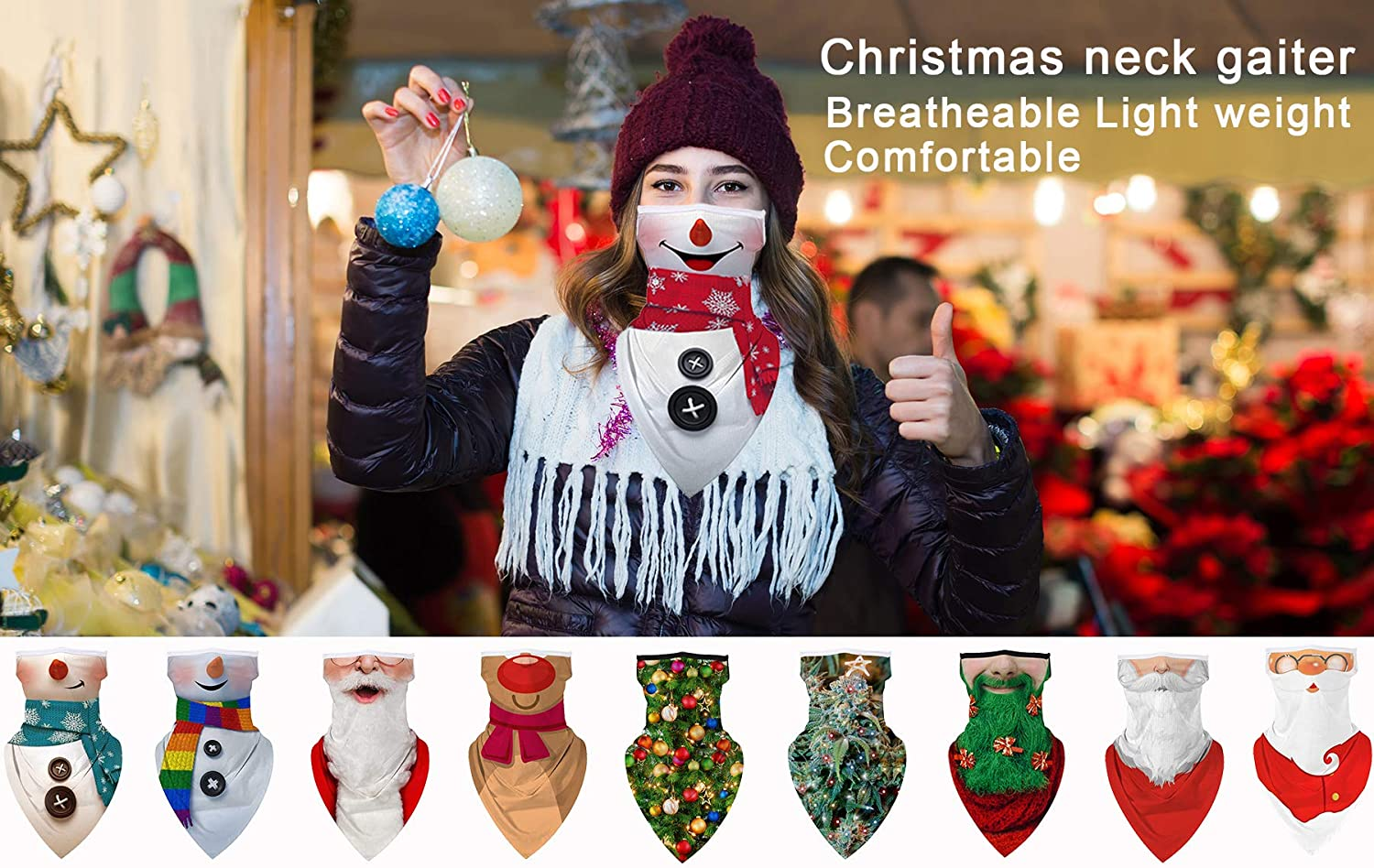 2 PCS Christmas Neck Gaiter Face Mask with Earloop for Men Women Bandana Neck Gators Face Covering for Wind Dust
