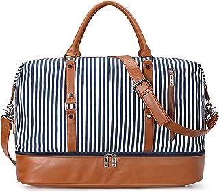 S-ZONE 45L Reisetasche Canvas PU Leder Weekender Tasche Travel Duffle Bag Handgepäck Handtasche Schultertasche mit Abnehmbar Schulterriemen für Reise Urlaub Wochenende Gym