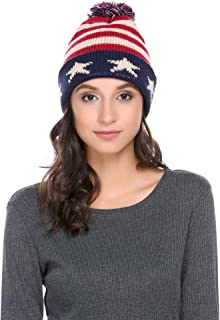 Zeagoo Women Men Crochet Knitted Ball Stripe Stars Winter Warm Beanie Hat Ski Cap