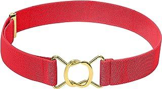HOLD'EM Kids Belts for Boys Brass Twisted Buckle Belt -Red
