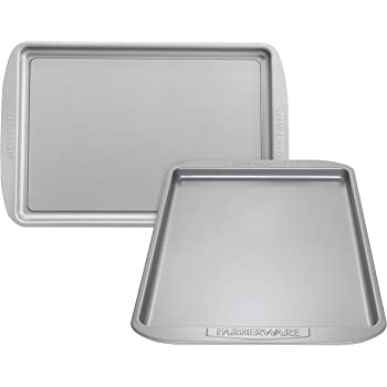 Farberware Nonstick Bakeware Set, Nonstick Cookie Sheets / Baking Sheets - 2 Piece, Gray
