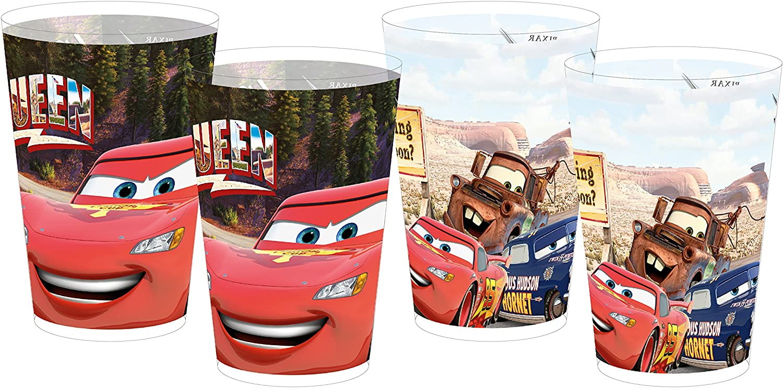 Disney Mehrwegbecher Cars Road 4er Set 250ml Vasos Reutilizables, Multicolor, 8 x 8 x 10,5 cm, 4 Unidades