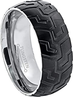 Jewelry Avalanche 9mm Carved Tire Tread Tungsten Ring - 2-Tone Comfort Fit Tungsten Wedding Band