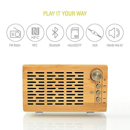 Sharon Altavoz Bluetooth Inalámbrico DJ Roxxx Big Woody Altavoz de Madera con Reproductor MP3, Radio FM, Lector Tarjeta SD y TF, Manos Libres, Altavoz para Ordenador, Entrada Audio
