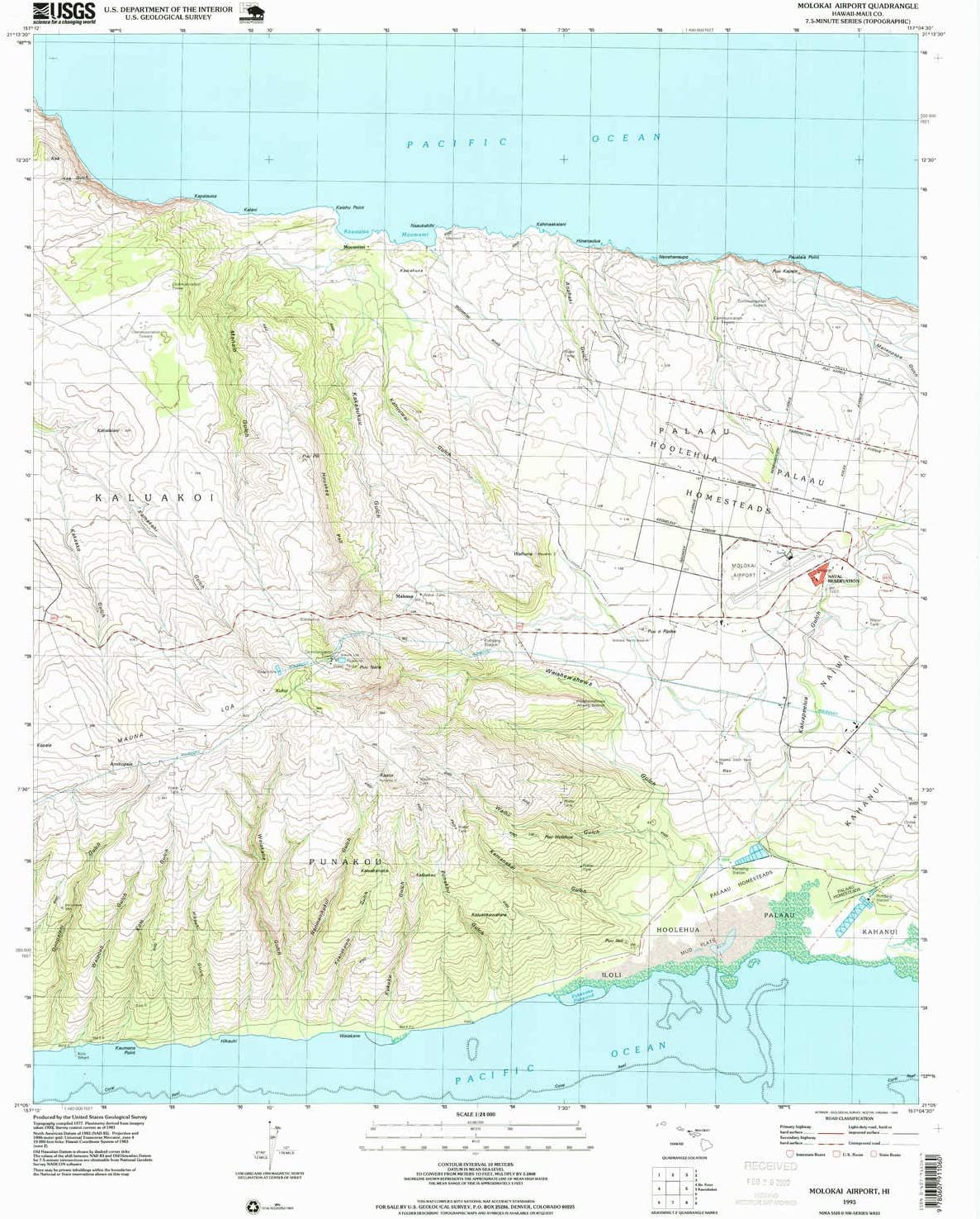YellowMaps Molokai Airport HI topo map Scale 返品不可 オンラインショッピング 7.5 X 1:24000