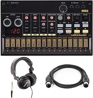 Korg Volca Beats Analog Rhythm Machine Bundle with Headphones and Midi Cable (3 Items)