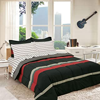 Royale Linens Campus Colors Rugby Stripe Red and Grey, Reversible, Twin Extra Long Complete Set, XL