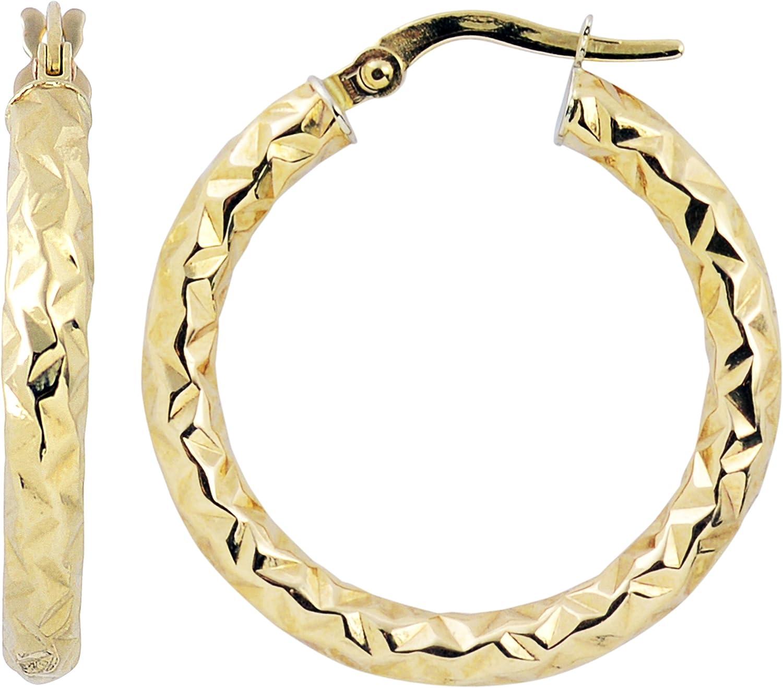 online shop Over item handling ☆ Kooljewelry 10k Gold 20 mm Round Diamond-cut Hoop Earrings