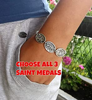Stainless Steel Chain Religious Bracelet - 3 Catholic Saint Medals - Holy Trinity St Francis Jude Peter San Benito Virgin Mary Raphael Christopher Sacred Heart Jesus Paul Padre Pio Anne Divine Mercy