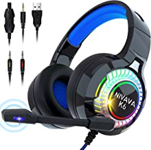 Nivava Gaming Headset for PS4, Xbox One, PC Headphones with Microphone LED Light Mic for Nintendo Switch PS5 Playstation C...