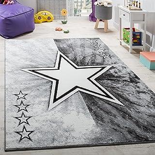 Paco Home Alfombra De Juegos para Habitación Infantil con Diseño Estrella Velour Corto Gris, tamaño:80x150 cm