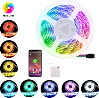 AKT LIGHTING LED Strip Light, String Light, Smart Control Music Color Changing Rope Light Kit, IP65 Waterproof, 120 LEDs, 2835 RGB, Battery Operated, 2M / 6.6 FT for Party, Garden