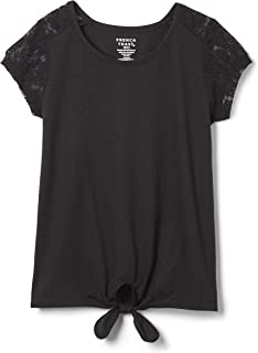 French Toast girls Short Sleeve Tie-Front Lace Shoulder T-Shirt T-Shirt (pack of 1)