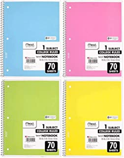 Mead Spiral Notebook 4 Pack of 1-Subject College Ruled, Pastel Color COLOR WILL VARY, Spiral Bound Notebooks, Cute school ...