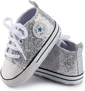 KaKaKiKi Baby Girls Boys Canvas Soft Sole High-Top Ankle Paillette Sneakers Toddler First Walker Newborn Crib Shoes