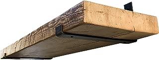 DIY CARTEL Industrial Forged Steel Floating Shelf J Bracket with Lip - Heavy Duty Rustic/Farmhouse Designed Brackets - Raw Metal Shelf Hardware - 2 Pack Wall Mount Shelf Brackets (11 3/8 x 6-inch)