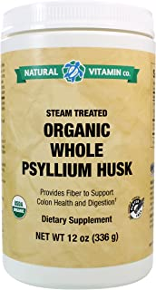 Natural Vitamin Co. - Organic Whole Psyllium Husk, 12 Ounces, 80 Day Supply, Organic, Gluten Free, Vegetarian, Vegan