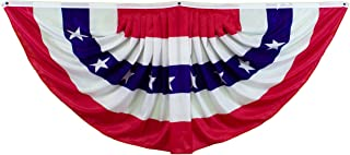 Shoe String King SSK 6' Pleated USA Fan American Flag - Independence Day July 4th Decor - 6' X 3' Full Size