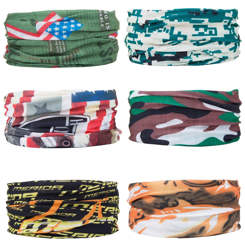 6 Pcs multifonction Bandanas Sans Coutures Tour de Cou Echarpe Foulard Tube Masque Bandeau Bracelet, Casque, Cagoule, Bandeau, Cache-cou, Premium 100% Microfibre