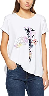 French Connection Women's Tropical Paradise Bird TEE, Summer White/Green