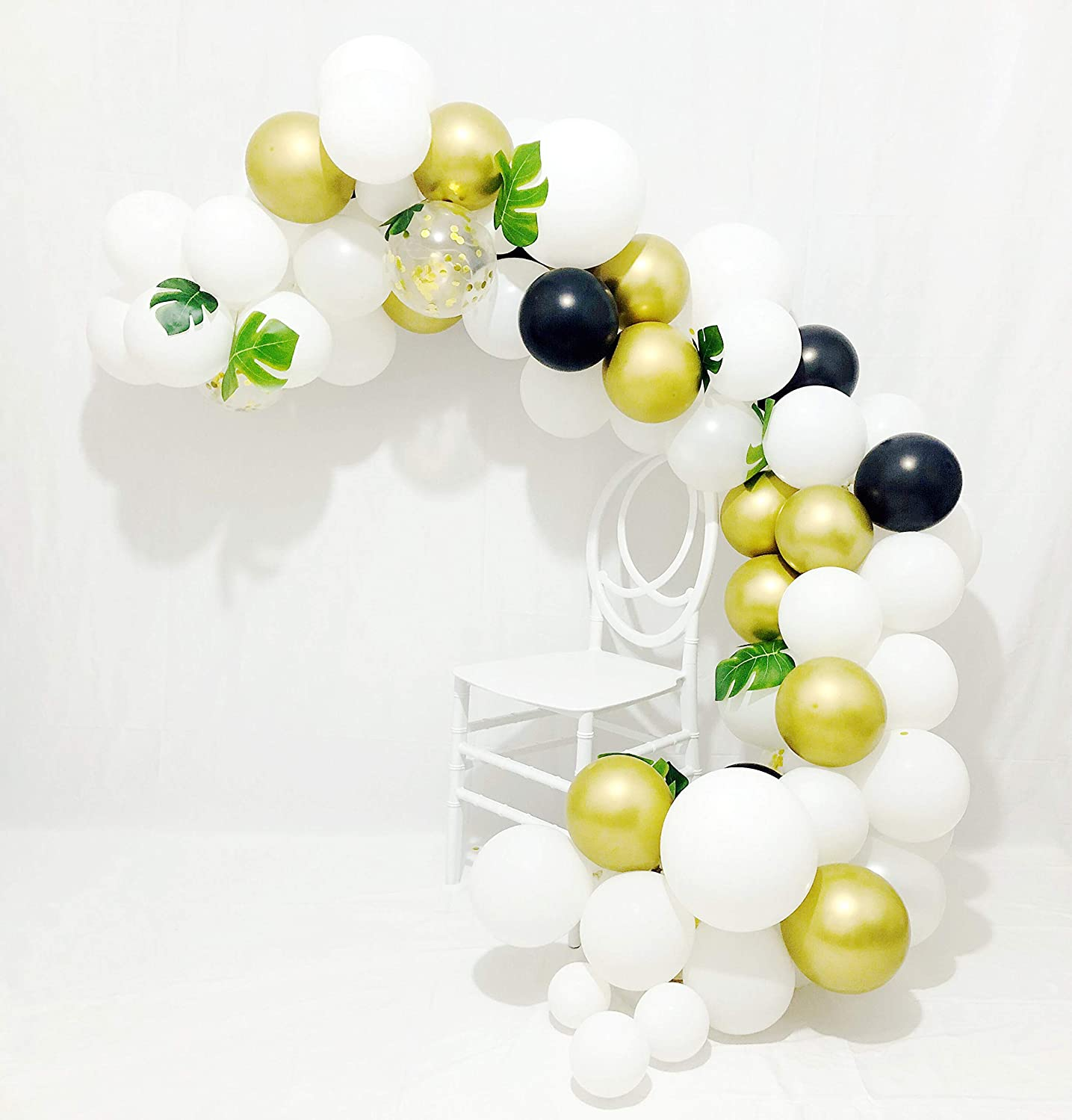 Sogorge Balloon Arch & Garland Kit   80 Pearl White, Black,Chrome Gold Latex Balloons, Gold Confetti Balloons   24 Green Palm Leaves   Glue Dots   Decorating Strip   Holiday, Wedding, Baby Shower, Graduation, Anniversary Organic DIY Party Decorations