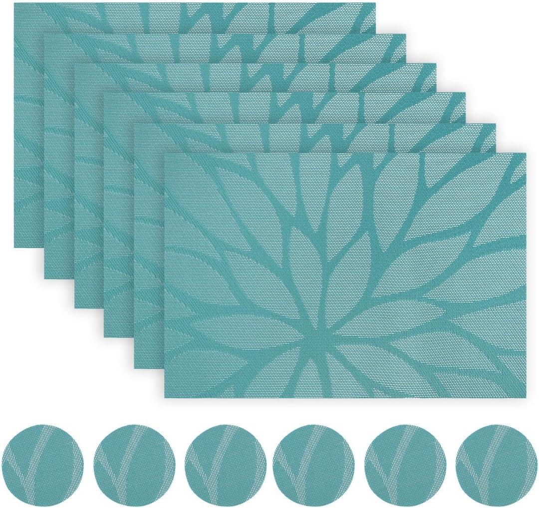 rond Vamoa Lot de 6 sets de table en feutre avec dessous de verre et dessous de verre en feutre de qualit/é sup/érieure avec rev/êtement antid/érapant. carr/é