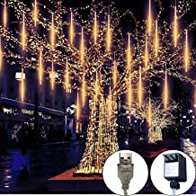 Meteor Lights,30cm 8 Tubes 248 LED Meteor Shower Raindrop Lights Waterproof Snow Falling Icicle Lights Outdoor Cascading String Lights for Garden Party Wedding Christmas Tree Patio(Warm White)