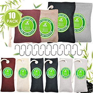 Bamboo Charcoal Bag for 10 Pack ( 200G*2 & 100G*2 & 60G*6), Tecesy Air Purifying Odor Absorber for Rooms Shoe Refrigerator...