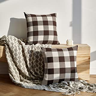 Sponsored Ad - NEERYO Pack of 2 Buffalo Check Plaid Peach Square Retro Soft Lumbar Throw Pillow Covers Cotton Polyester Fa...