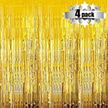 Foil Curtains Backdrop - 4 Pack Photo Booth Backdrop for Wedding Birthday Party Stage Decor Tinsel Photo Booth Backdrop Metallic Curtains Party Supplies for Props(Gold)