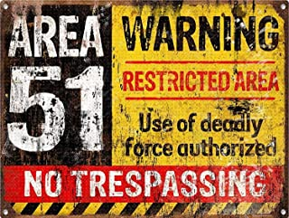 Ohuu 12×8 Warning Area 51 Tin Wall Signs Warning Sign Metal Plaque Poster Iron Painting Art Decoration for Bar Café Hotel Office Bedroom Garden
