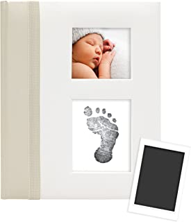 Pearhead First 5 Years Baby Memory Book with Clean-Touch Baby Safe Ink Pad to Make Baby's Hand or Footprint Included, Ivory Classic