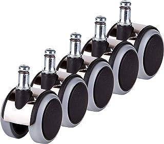 (Para 1 silla) Ruedas de goma Ruedas para sillas de oficina de 50 mm Para ruedas dobles de repuesto Vástagos universales giratorios (5)