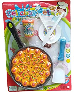 Anika Pizza Cutting Set Toys for Kids, Kitchen Restaurent Pretend Role Play Mini Fast Food Toy for Kids