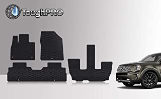 ToughPRO Floor Mats Set + 3rd Row Compatible with Kia Telluride - All Weather - Heavy Duty - Black Rubber - 2020