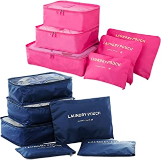 Packing Cubes 12 Piece (2 Sets of 6) Luggage Organizers/Laundry Bags| JuneBugz Travel Accessory for Suitcases, Carry-on,Back Packs-Organize Toiletries/Clothing/Medicine/Shoes/Passport/Documents