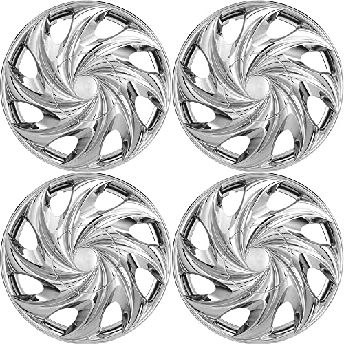 popular 14 inch Hubcaps Best for - GMC Sierra 1500 - (Set new arrival of 4) Wheel Covers 14in Hub Caps Chrome Rim Cover - Car Accessories for 14 inch Wheels - Snap On Hubcap, Auto outlet online sale Tire Replacement Exterior Cap online sale