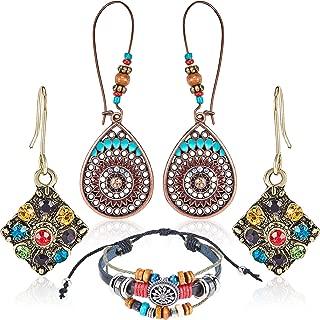 2 Pairs Bohemian Hollow Water Drop Earrings National Retro Rhinestone Earrings and 1 Piece Bohemian Beaded Multilayer Bracelet for Women Accessories