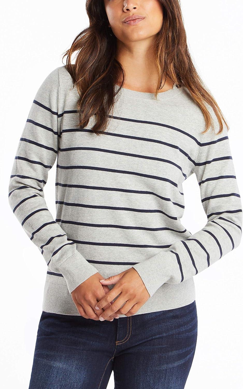 Nautica Women's Year-Round Long Sleeve 100% Cotton Striped Crewneck Sweater