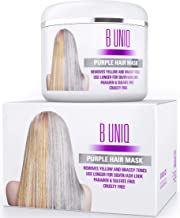 Purple Hair Mask For Blonde, Platinum & Silver Hair - Banish Yellow Hues: Blue Masque to Reduce Brassiness & Condition Dry Damaged Hair - Sulfate Free Toner - 7.27 Fl. Oz / 215 ml