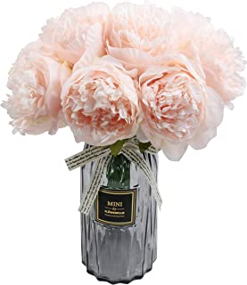 famibay Artificial Peony Bouquets Flower Head Vantage Fake Peony Silk Plastic Plants with Stem for Home Decoration Wedding Party Garden Bar Festival Holiday 10 PCS Pink