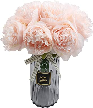 Artificial Peony Bouquets Flower Head Vantage Fake Peony Silk Plastic Plants with Stem for Home Decoration Wedding Party Gard