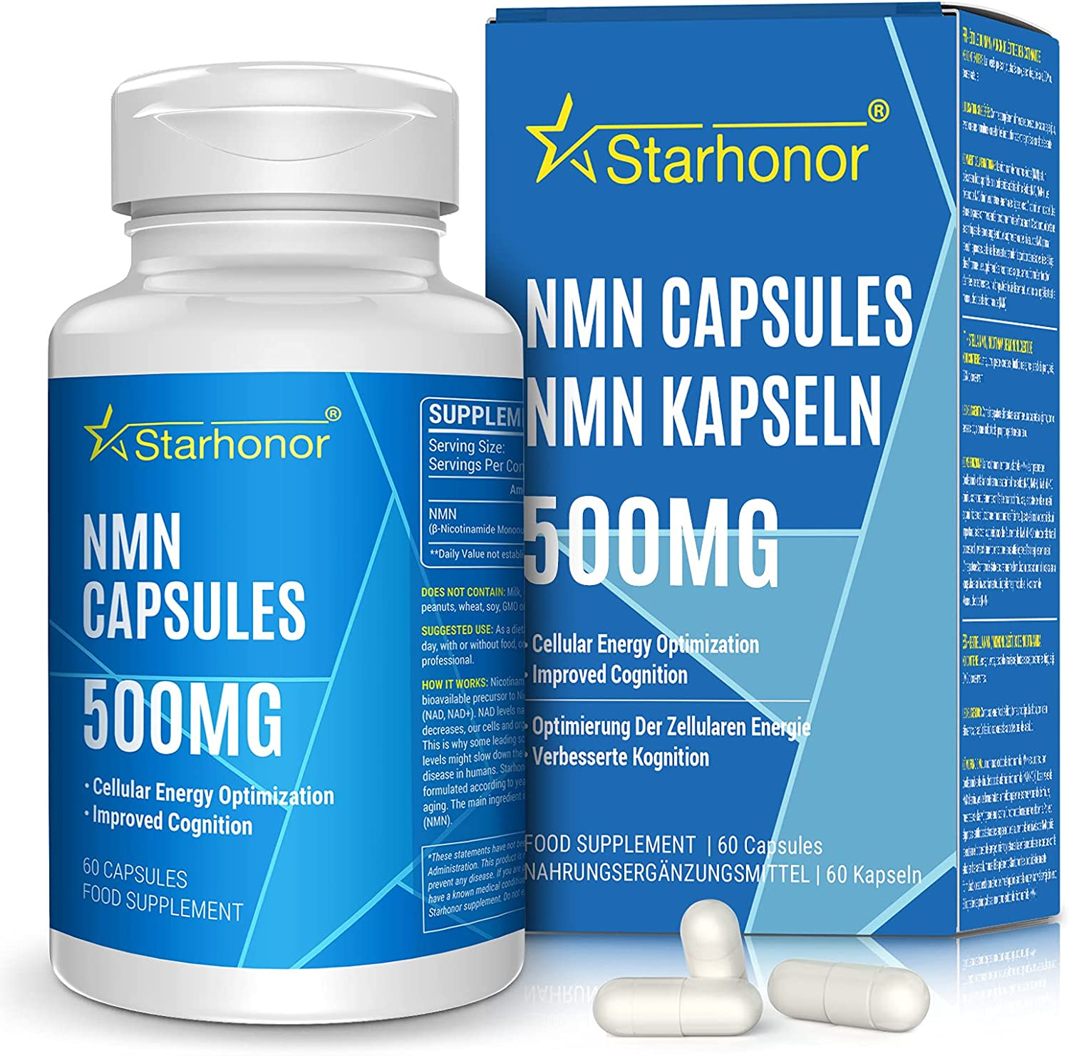 NMN Supplements Max 61% OFF Large-scale sale 500mg Capsule Monon Nicotinamide Starhonor Pure