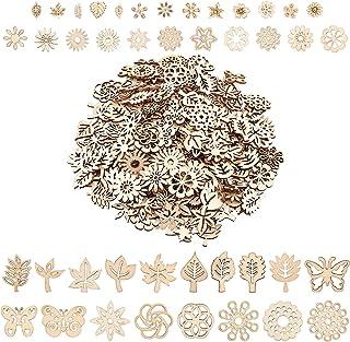 CHGCRAFT 350 Pièces Embellissement Tranches en BoisAssorties en Forme de Fleur Papillon Feuille Styles Mixte pour Décorat...