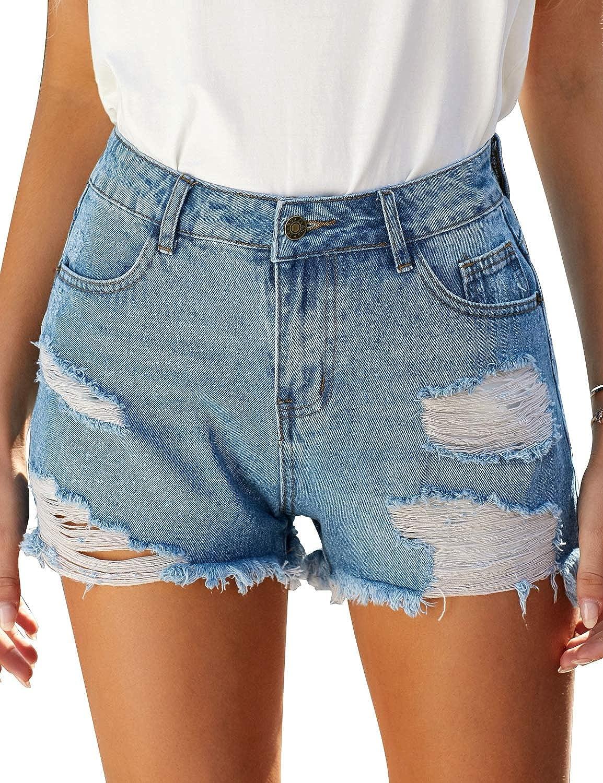 LookbookStore Women's Ripped Frayed Raw Hem Pockets Mid Rise Denim Shorts Jeans