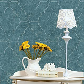 HaokHome 901503 Graphic Trellis Wallpaper Brittany Blue/Silver for Home Bathroom Kitchen Accent Wall 20.8