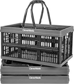 CleverMade Collapsible Plastic Grocery Shopping Baskets: Small Folding Stackable Storage Containers / Bins with Handles, Pack of 3, Charcoal